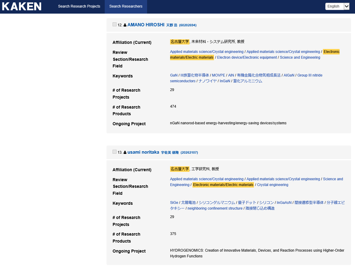 ⑥The list of search results containing the researchers that meet the search conditions will be displayed.