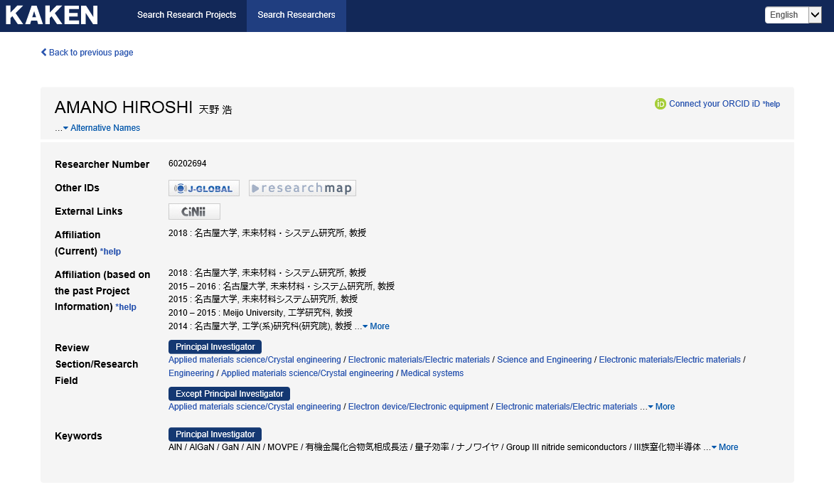⑦By clicking the name of a researcher, the detailed information will be displayed.